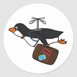 Travelling Flying Helicopter Penguin with Suitcase Classic Round Sticker