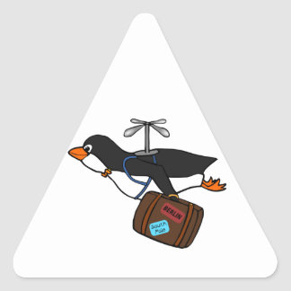 Travelling Flying Helicopter Penguin with Suitcase Triangle Sticker