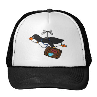 Travelling Flying Helicopter Penguin with Suitcase Trucker Hat
