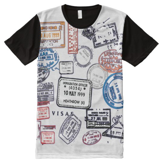Travelling Man Visa Stamps All-Over-Print T-Shirt