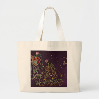travelling rose pulled by a cosmic bee large tote bag