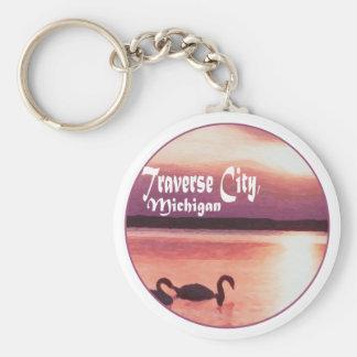 Traverse City, Michigan Basic Round Button Keychain