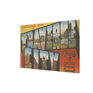 Traverse City, Michigan - Large Letter Scenes Canvas Print