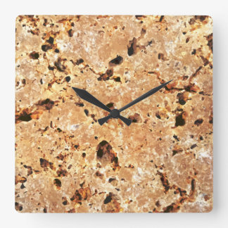 Travertine Stone Look Square Wall Clock