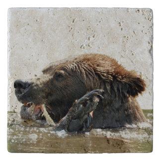 Travertine Stone Trivet w/ grizzly bear