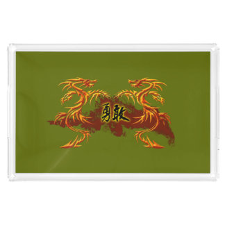 Tray 2 dragons, fire, Chinese symbol brave