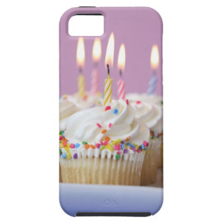 Tray of birthday cupcakes with candles iPhone 5 covers