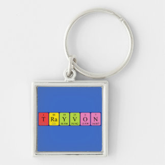 Trayvon periodic table name keyring Silver-Colored square keychain
