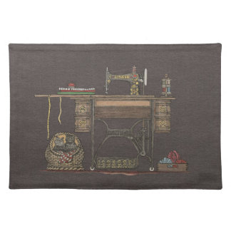Treadle Sewing Machine & Kittens Placemat