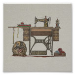 Treadle Sewing Machine & Kittens Poster