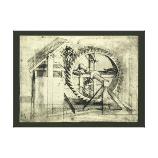 Treadmill Powered Crossbow by Leonardo da Vinci Stretched Canvas Print
