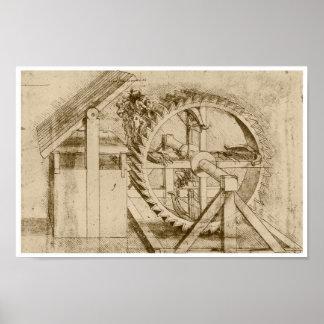Treadmill Powered Crossbow, Leonardo da Vinci Poster