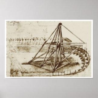 Treadmill Powered Digging Machine, Da Vinci Poster