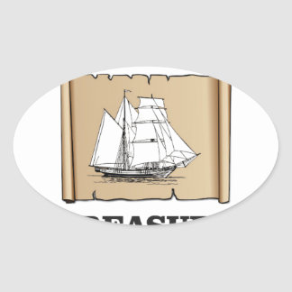 treasure at the high seas oval sticker