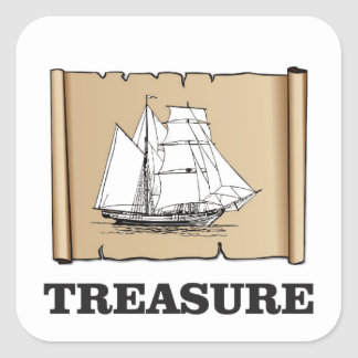 treasure at the high seas square sticker