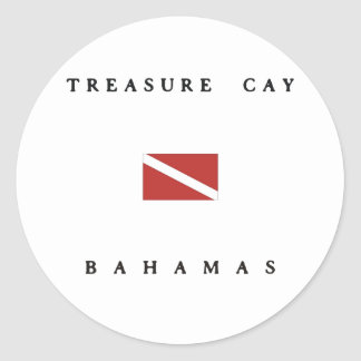 Treasure Cay Bahamas Scuba Dive Flag Round Sticker