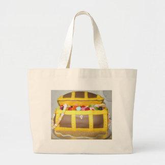 Treasure chest cake large tote bag