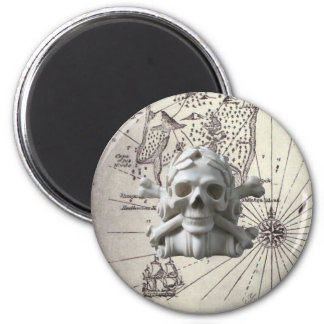Treasure Island Skull & Bones Pirate Fridge Magnet