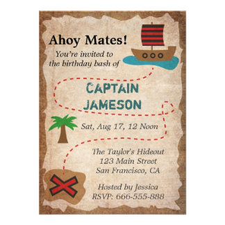 Treasure Map Pirate Theme Birthday Party Custom Invitations