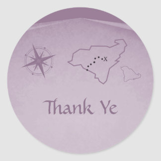 Treasure Map Thank You Stickers, Purple