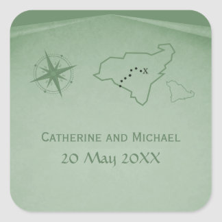 Treasure Map Wedding Stickers, Green Square Sticker