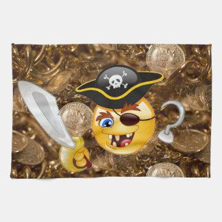 treasure pirate emoji kitchen towel