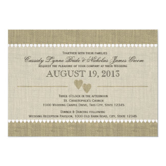 Treasured Hearts and Burlap Wedding Card