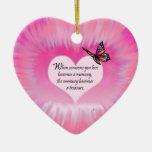 Treasured Memories Butterfly Poem Ceramic Heart Ornament
