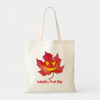 Treat Bag Customizable Fall Leaf Face