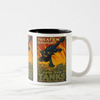 Treat 'em Rough - Join the Tanks Two-Tone Coffee Mug
