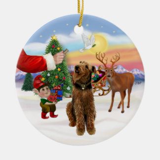 Treat for a Airedale Terrier Round Ceramic Ornament