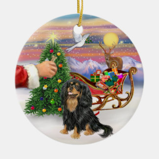 Treat for a black and Tan Cavalier King Charles Sp Round Ceramic Ornament