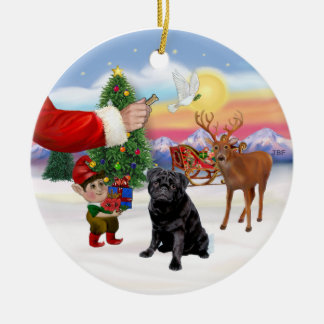 Treat for a Black Pug Christmas Ornaments