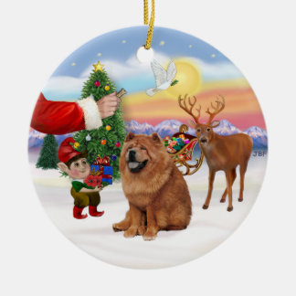 Treat for a Chow Chow (red) Ceramic Ornament