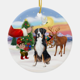 Treat for a Greater Swiss Mountain dog Ceramic Ornament