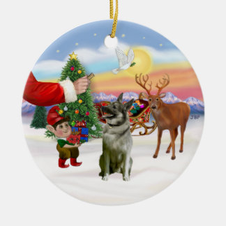Treat for a Norwegian Elkhound Round Ceramic Ornament