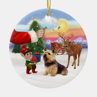 Treat for a Norwich Terrier Round Ceramic Ornament