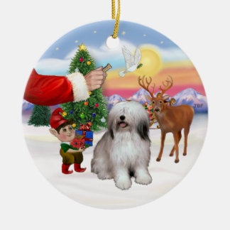 Treat for a Polish Lowland Sheepdog Ceramic Ornament