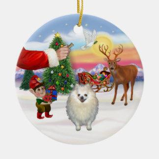 Treat for a White Pomeranian Ceramic Ornament