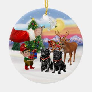 Treat for two Black Pugs Ceramic Ornament