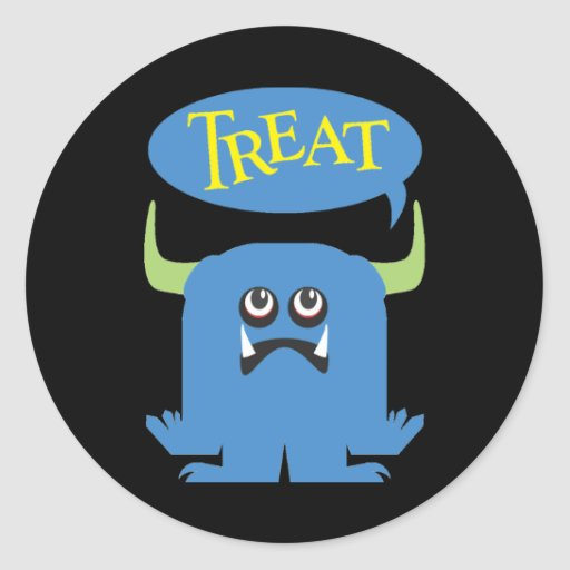 Treat Gay Halloween Couples Round Stickers