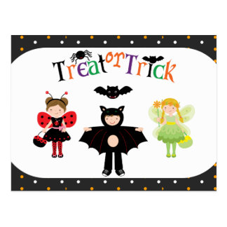 Treat or Trick Costumed Children Postcard