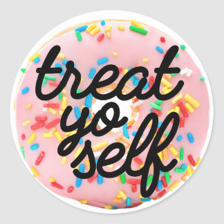 Treat yo self classic round sticker