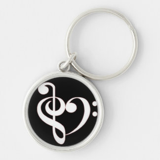 Treble and Bass Clef Heart Key chain