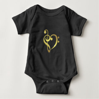 Treble and bass clef music heart black baby shirt