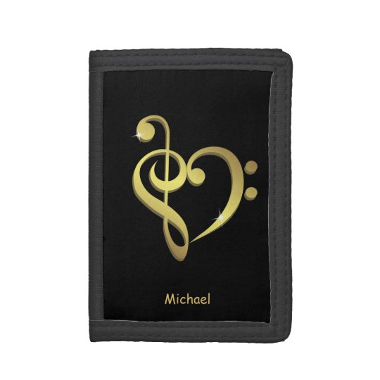 Treble and bass clef music heart love name black trifold wallet
