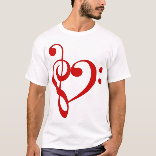 Treble and Bass Clefs Heart (red) T-Shirt
