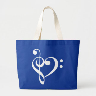 Treble and Bass Clefs Heart (white) Bag