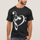 Treble and Bass Clefs Heart (white) T-Shirt