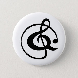 Treble clef 2 inch round button